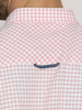 Raging Bull Big & Tall Short Sleeve Linen Look Gingham Shirt - Pink