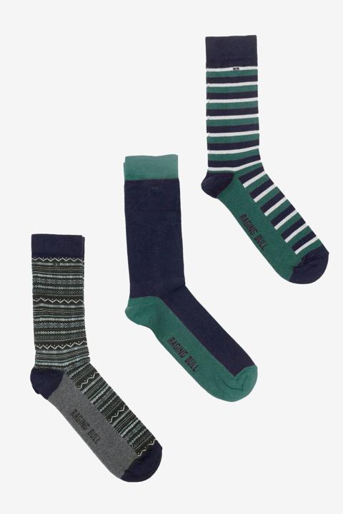 Raging Bull 3 Pk Cotton Mix Socks - Forest