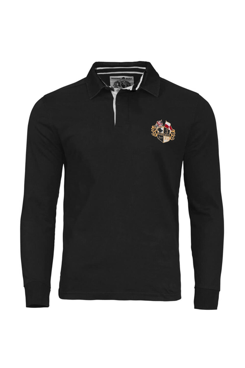 high quality black long sleeve rugby shirt