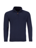 Raging Bull Knitted Cotton/Cashmere Quarter Zip - Navy