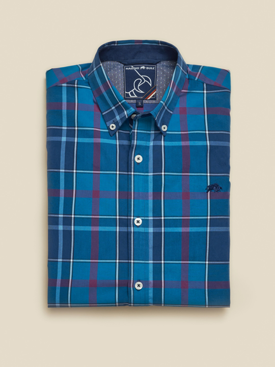 Raging Bull - Long Sleeve Large Check Poplin Shirt - Navy
