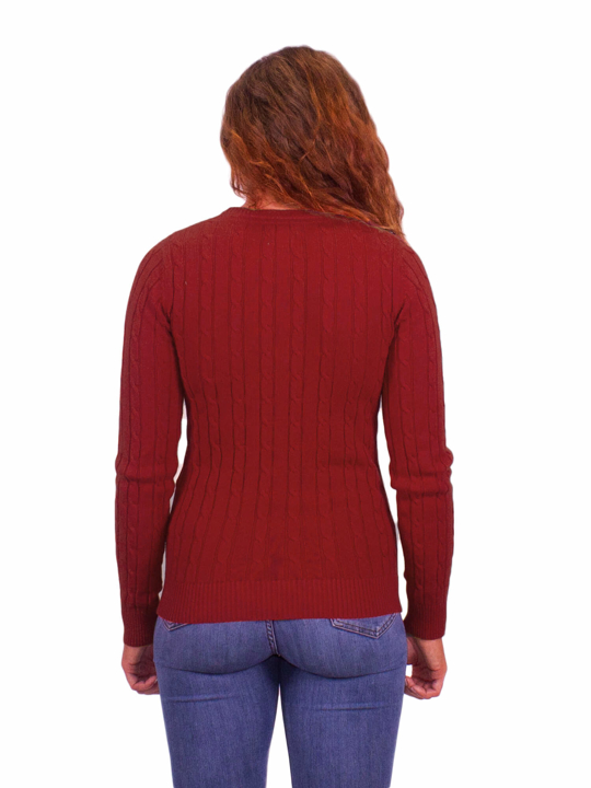 Raging Bull - Cable Knit Crew Neck - Berry