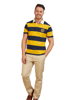 model wearing high quality navy and yellow block striped short sleeve rugby shirt