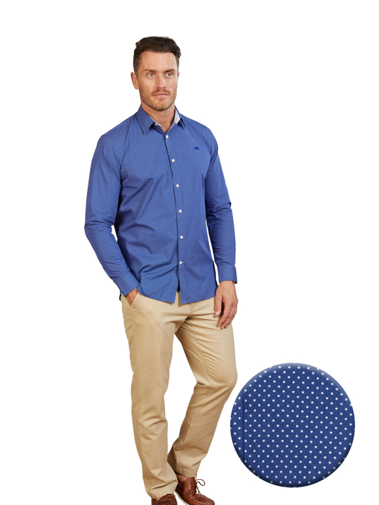 Raging Bull - Big & Tall Long Sleeve Polka Dot Print Shirt - Mid Blue