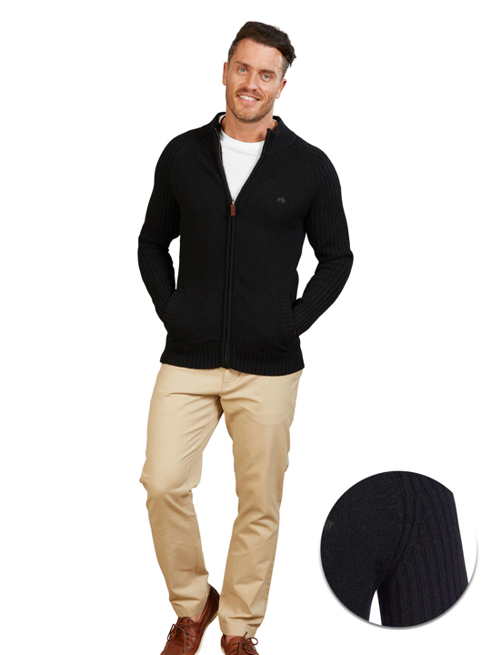 Raging Bull - Big & Tall Chunky Rib Knit Cardigan - Black