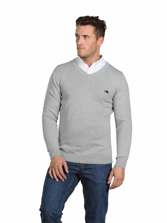 model wearing high quality grey v-neck jumper