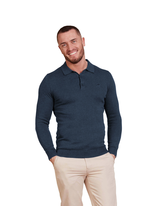 Raging Bull - Long Sleeve Signature Knit Polo - Navy