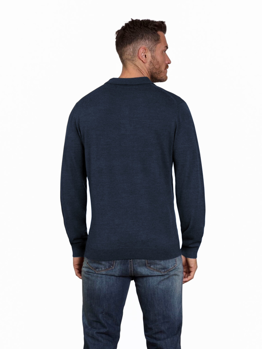 Raging Bull - Big & Tall Long Sleeve Signature Knit Polo - Navy