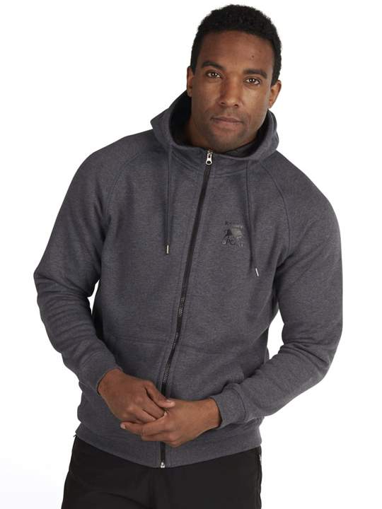 model wearing high quality grey zip hoodie