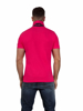 back of model wearing vivid pink polo shirt