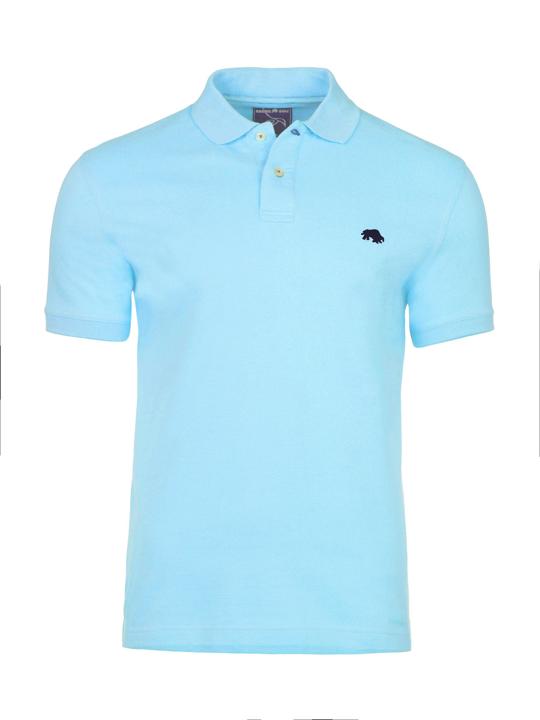 model wearing high quality slim fit sky blue polo shirt
