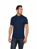 model wearing high quality slim fit navy polo
