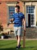 model wearing high quality striped navy and pink short sleeve rugby shirt