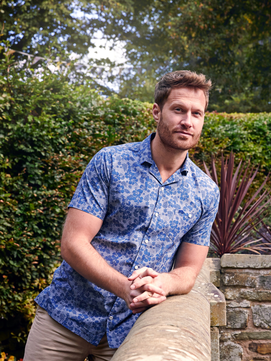 Raging Bull - Big & Tall Short Sleeve Poplin Hibiscus Print Shirt - Chambray