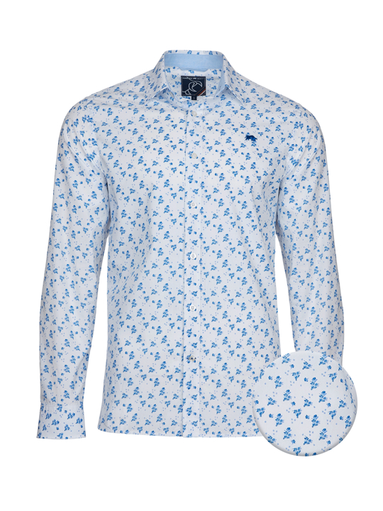 high quality white floral patterned long sleeve shirt