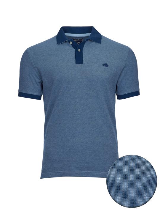 high quality blue two tone polo shirt