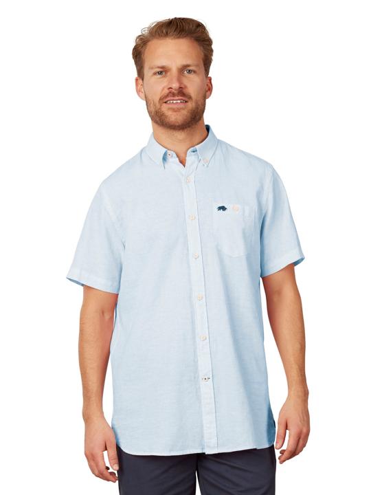 Raging Bull - Short Sleeve Signature Linen Shirt - Sky Blue