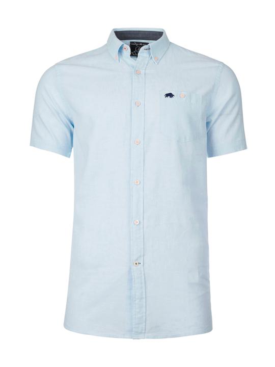 Raging Bull Big & Tall Short Sleeve Signature Linen Shirt - Sky Blue