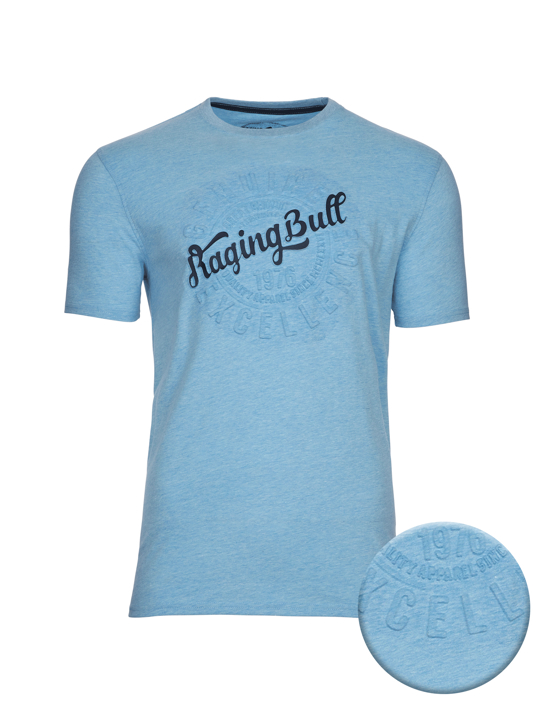 model wearing high quality embossed script blue t-shirt