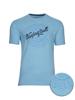 high quality embossed script blue t-shirt