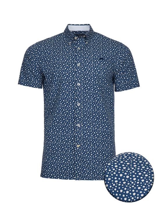 high quality blue floral print short sleeve shirt