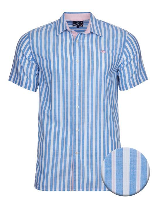 high quality linen look striped blue short sleeve shirt