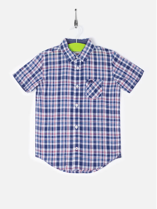 Raging Bull Kids Short Sleeve Check Shirt - Navy