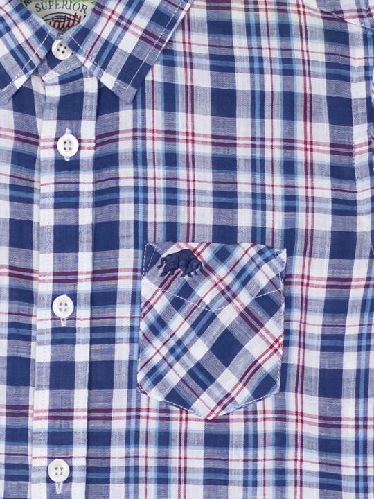 Raging Bull - Kids Short Sleeve Check Shirt - Navy