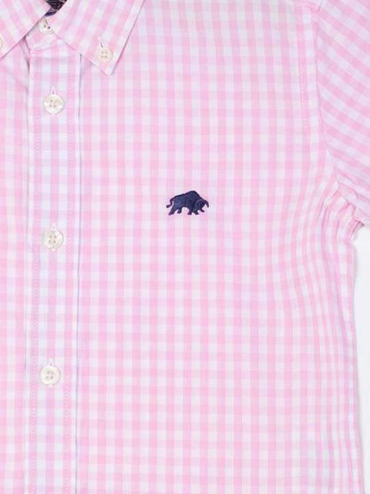 Raging Bull - Kids Short Sleeve Gingham Shirt - Pink