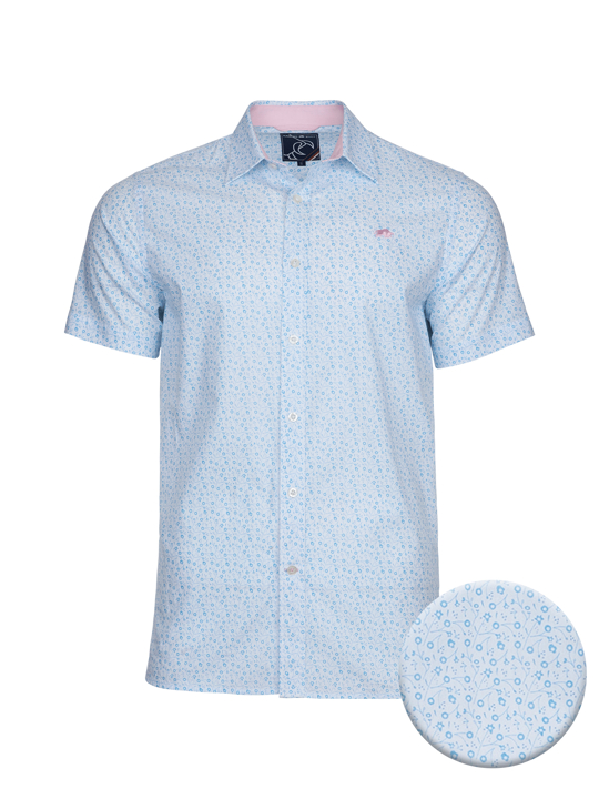 high quality white and blue floral short sleeve shirt