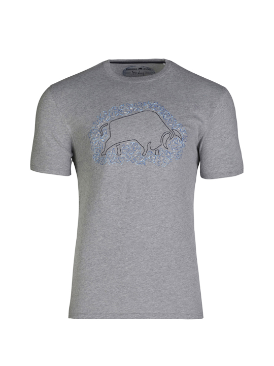 model wearing high quality embroidered grey t-shirt
