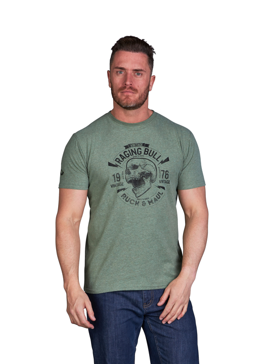 model wearing high quality green graphic t-shirt