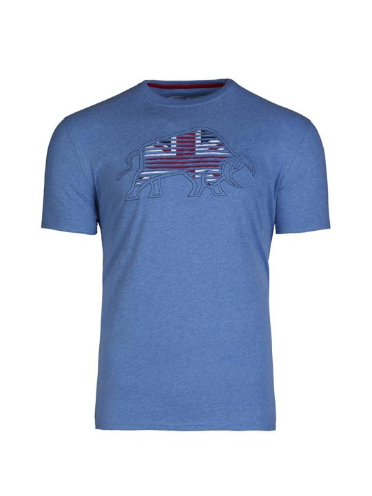 model wearing high quality blue bull graphic t-shirt