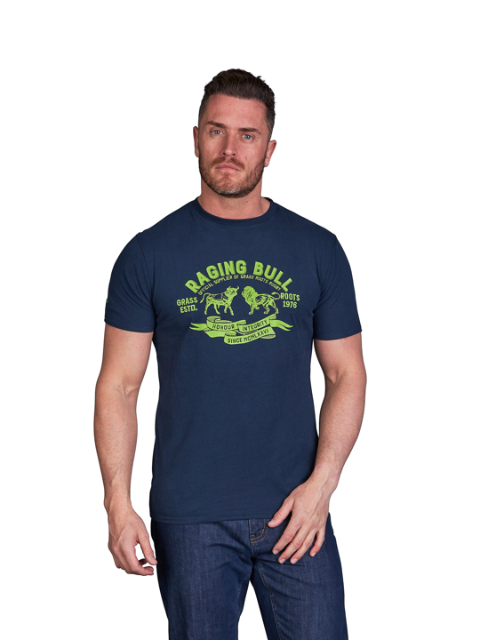 model wearing high quality graphic navy t-shirt
