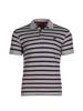 high quality striped grey pique polo shirt