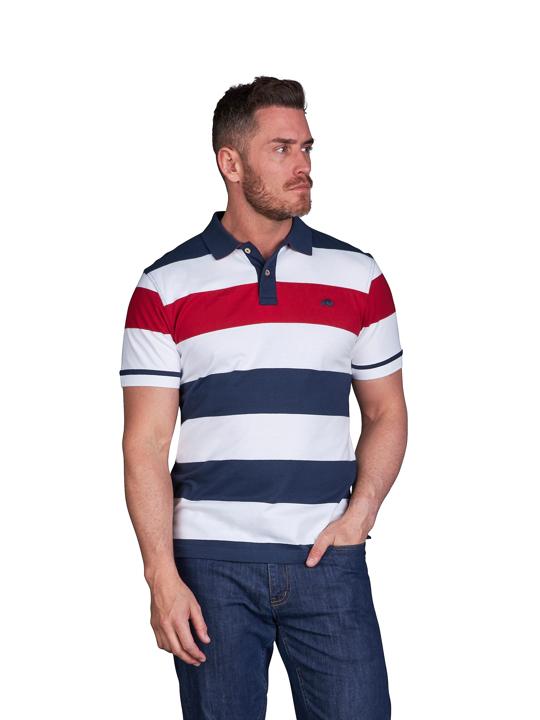 high quality striped white polo shirt