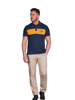 Raging Bull Big & Tall Contrast Panel Pique Polo - Navy