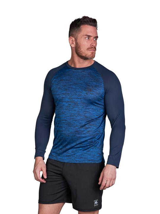 model wearing high quality long sleeve blue sport top