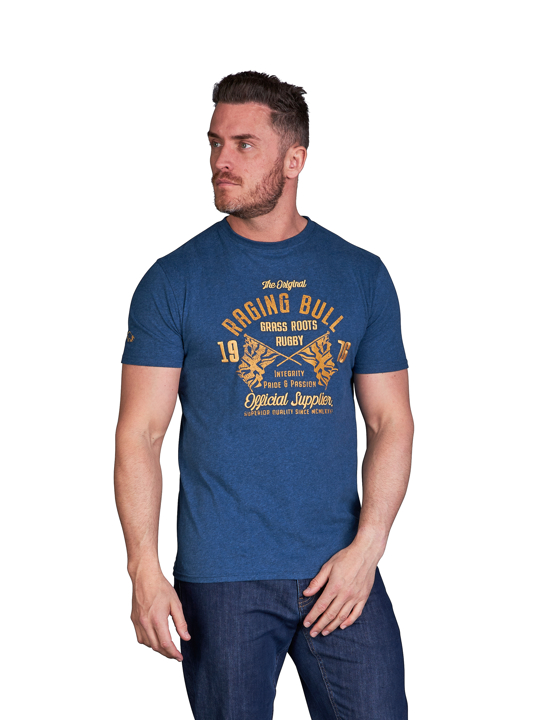 model wearing high quality blue graphic t-shirt