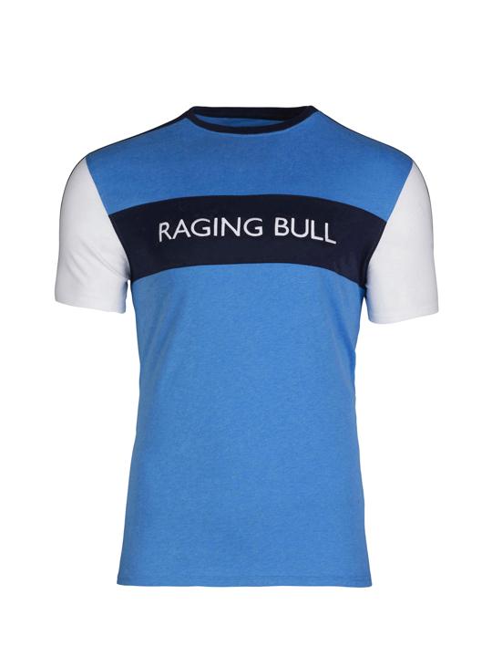 model wearing high quality cut and sew blue t-shirt