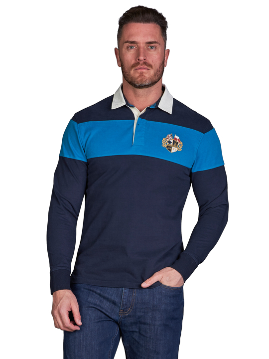 model wearing high quality blue stripe long sleeve crest rugby shirt