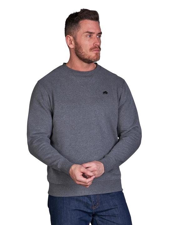 model wearing high quality dark grey crew neck sweatshirt