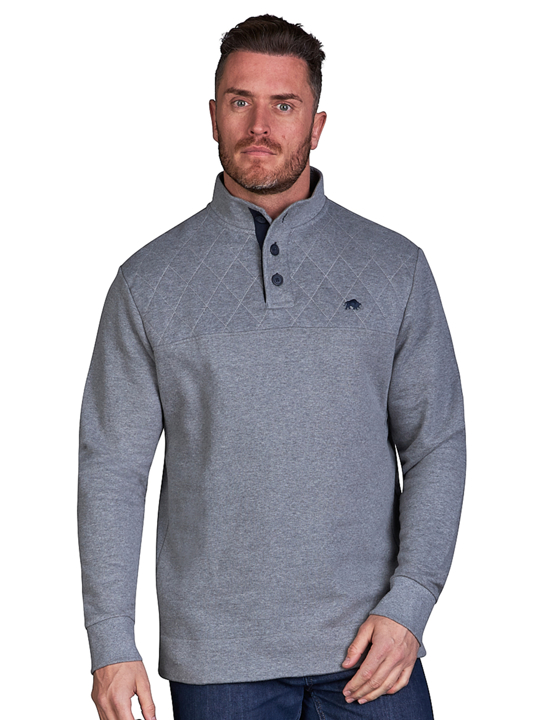 Raging Bull - Signature Button Jersey Sweat - Grey