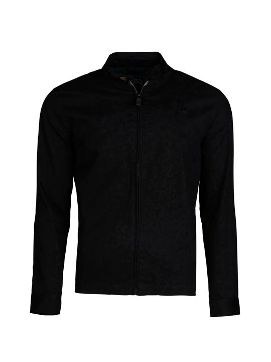 model wearing high quality black lightweight jacket