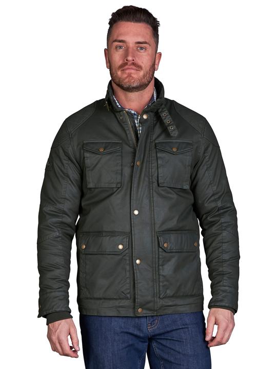 model wearing high quality green wax jacket