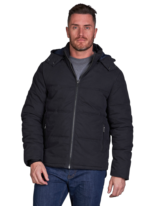 model wearing high quality black hooded puffer jacket