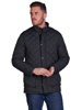 model wearing high quality black quilted jacket