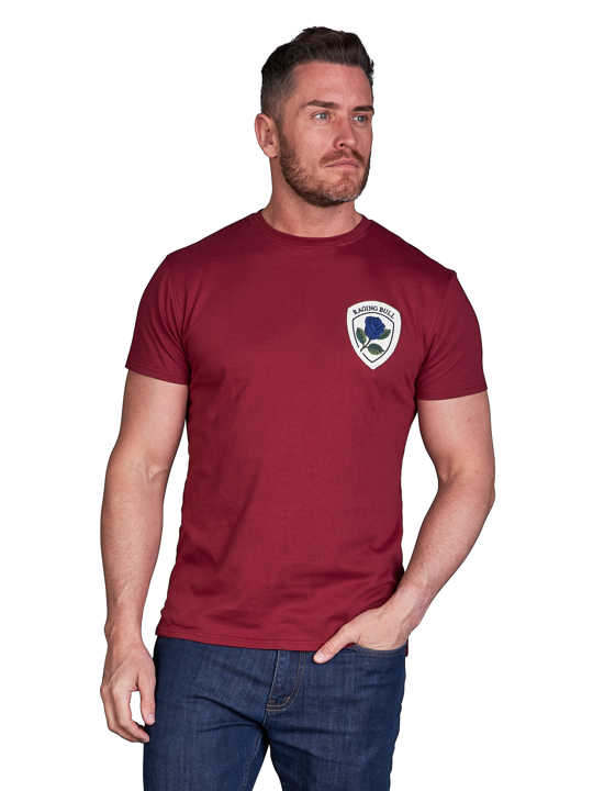 model wearing high quality crested red t-shirt