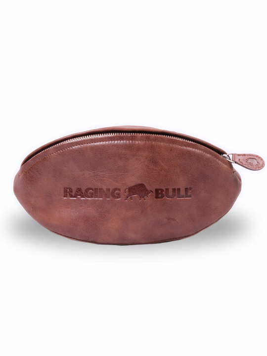 Raging Bull - Rugby Leather Wash Bag - Brown