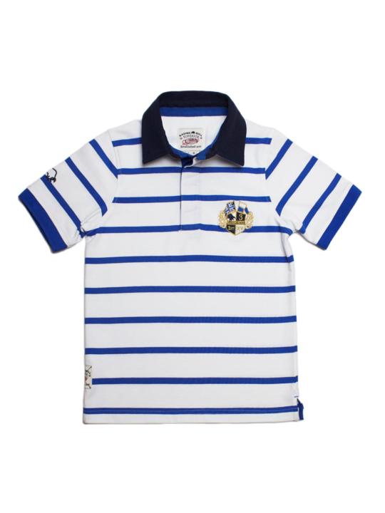 Raging Bull Thin Stripe Rugby - White/Blue